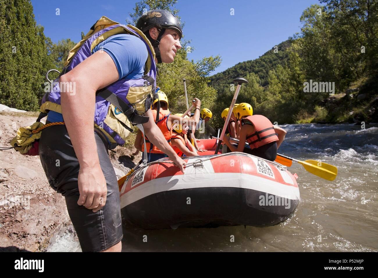 Rafting in Noguera Ribagorzana River. Alta Ribagorza. Lerida. Spain. - Stock Image