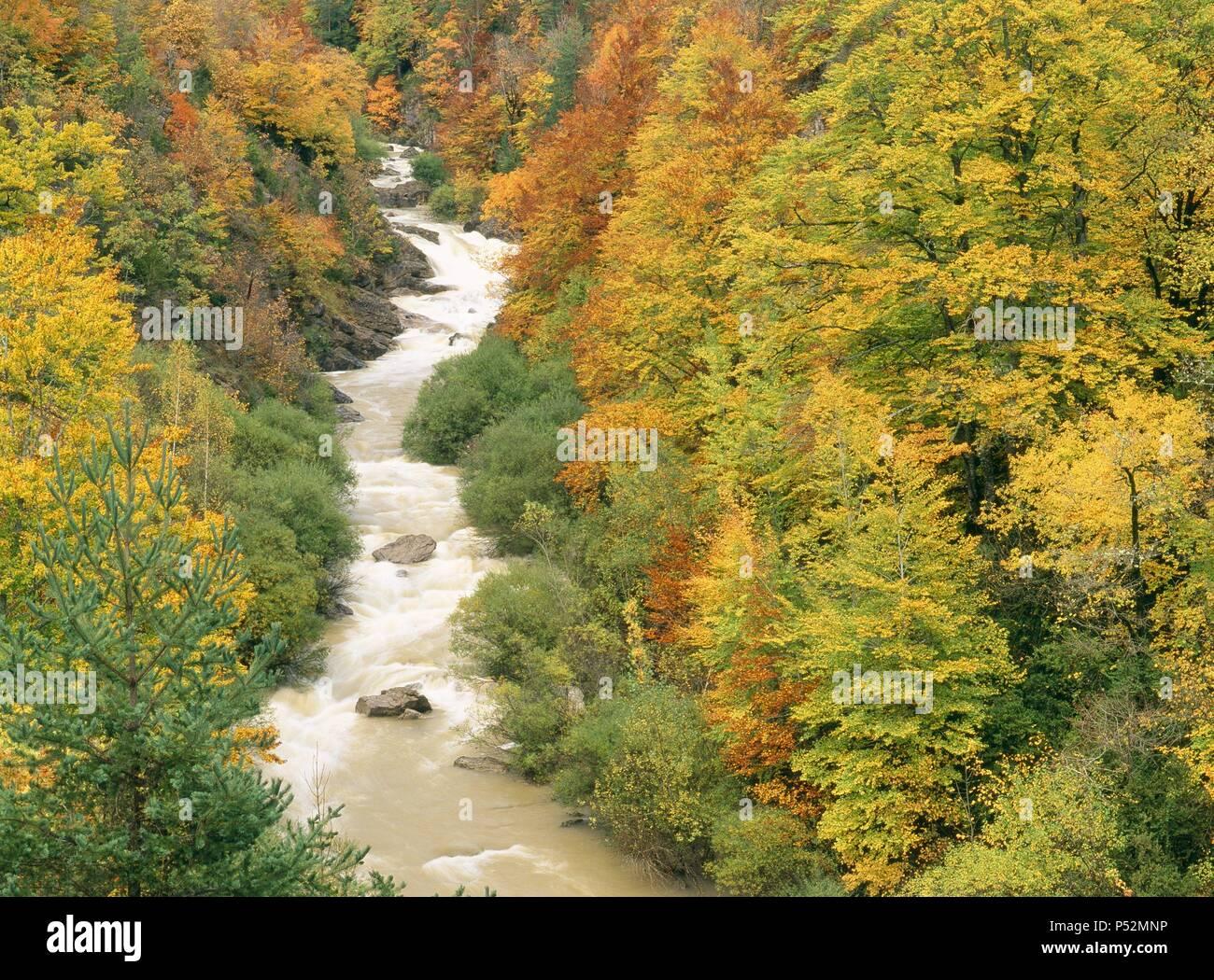 Valley of Isabena River. Ribagorza. Huesca. Spain. - Stock Image