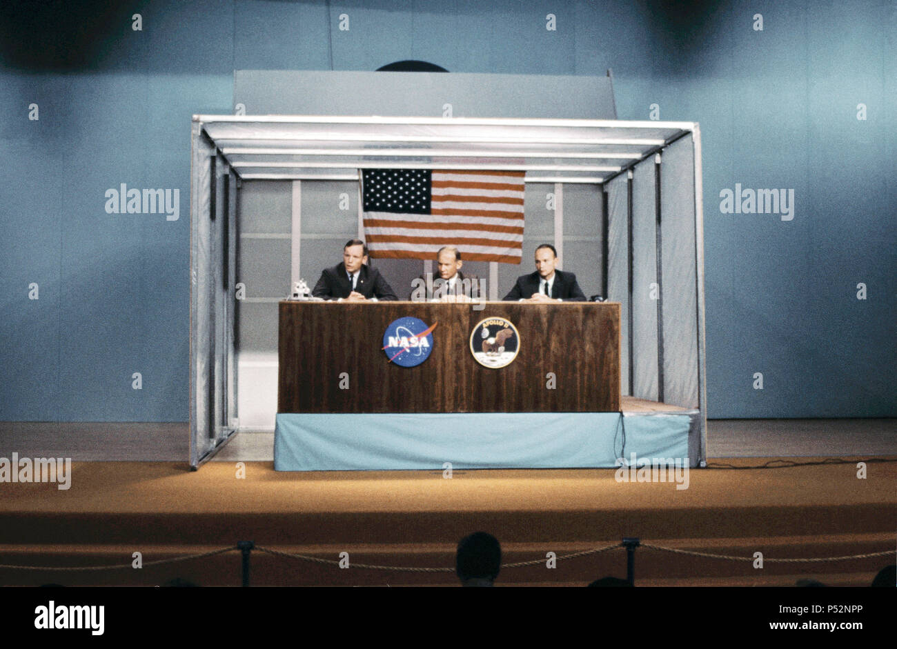he three prime crewmen of the Apollo 11 lunar landing mission participate in a preflight press conference in the Building 1 auditorium on July 5, 1969. - Stock Image