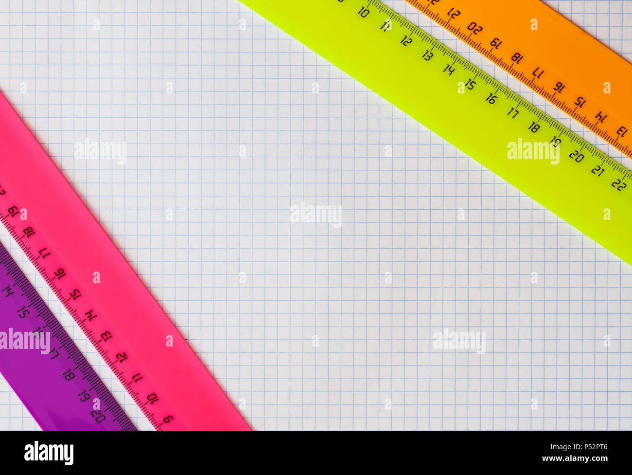Geometry set with rulers - Stock Image