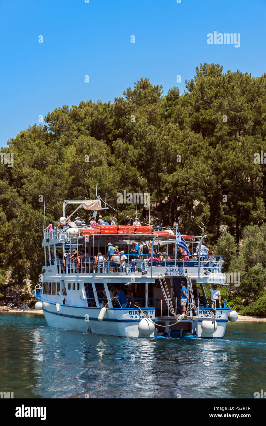 Tourist Boat Arriving at Gaios, Paxos. - Stock Image