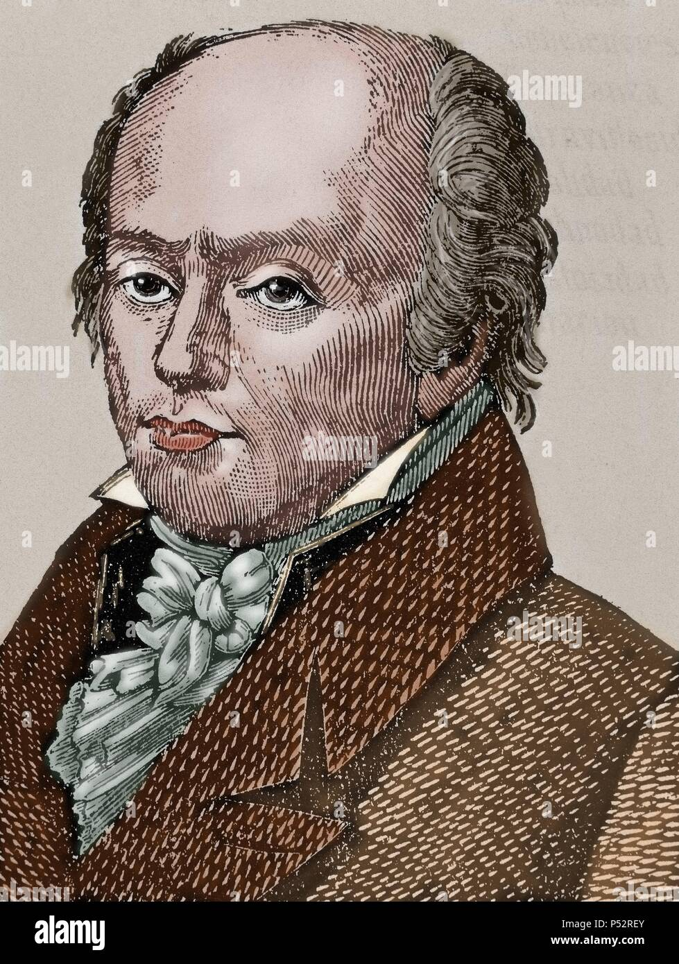 Franz Joseph Gall (1758 -1828). Neuroanatomist, physiologist, and pioneer in the study of the localization of mental functions in the brain. Colored engraving. - Stock Image