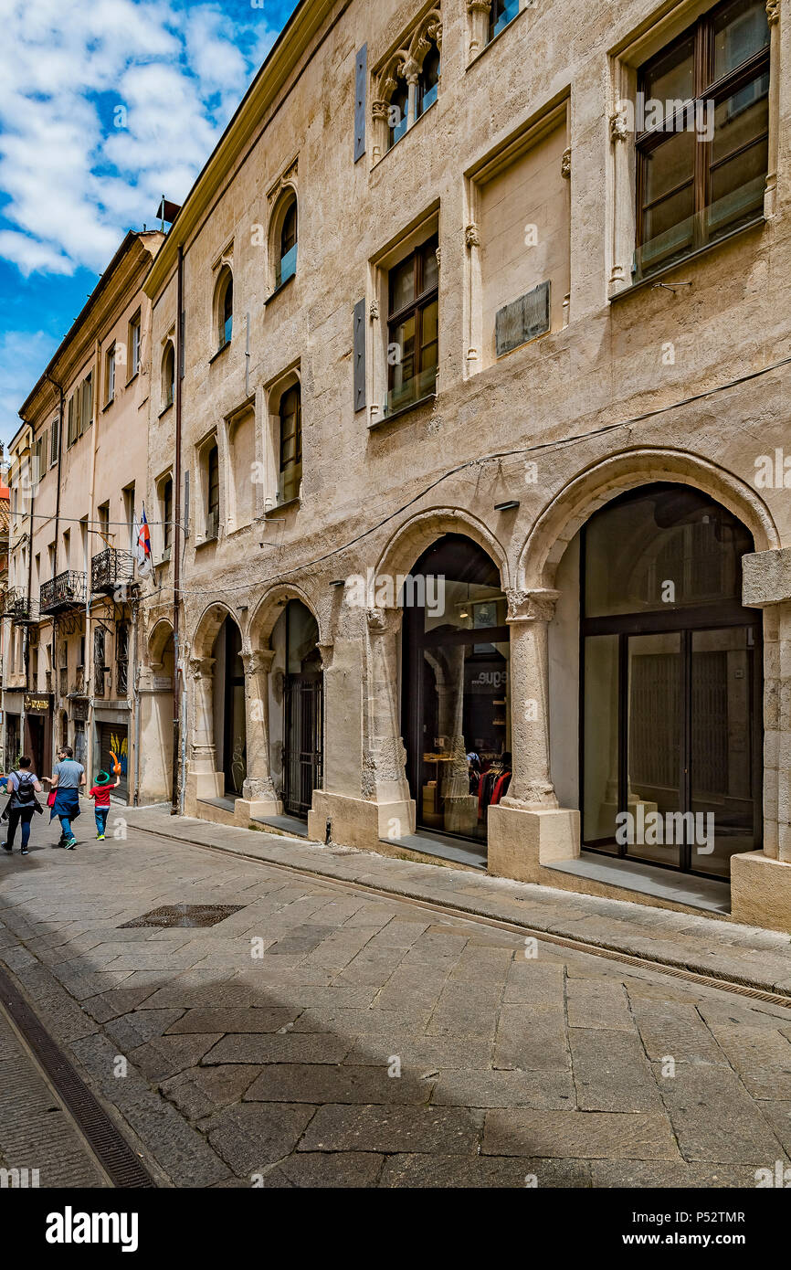 Italy Sardinia Sassari, Corso Vittorio  Emanuele II, Casa Guarino or Palazzo of Re Enzo - Stock Image