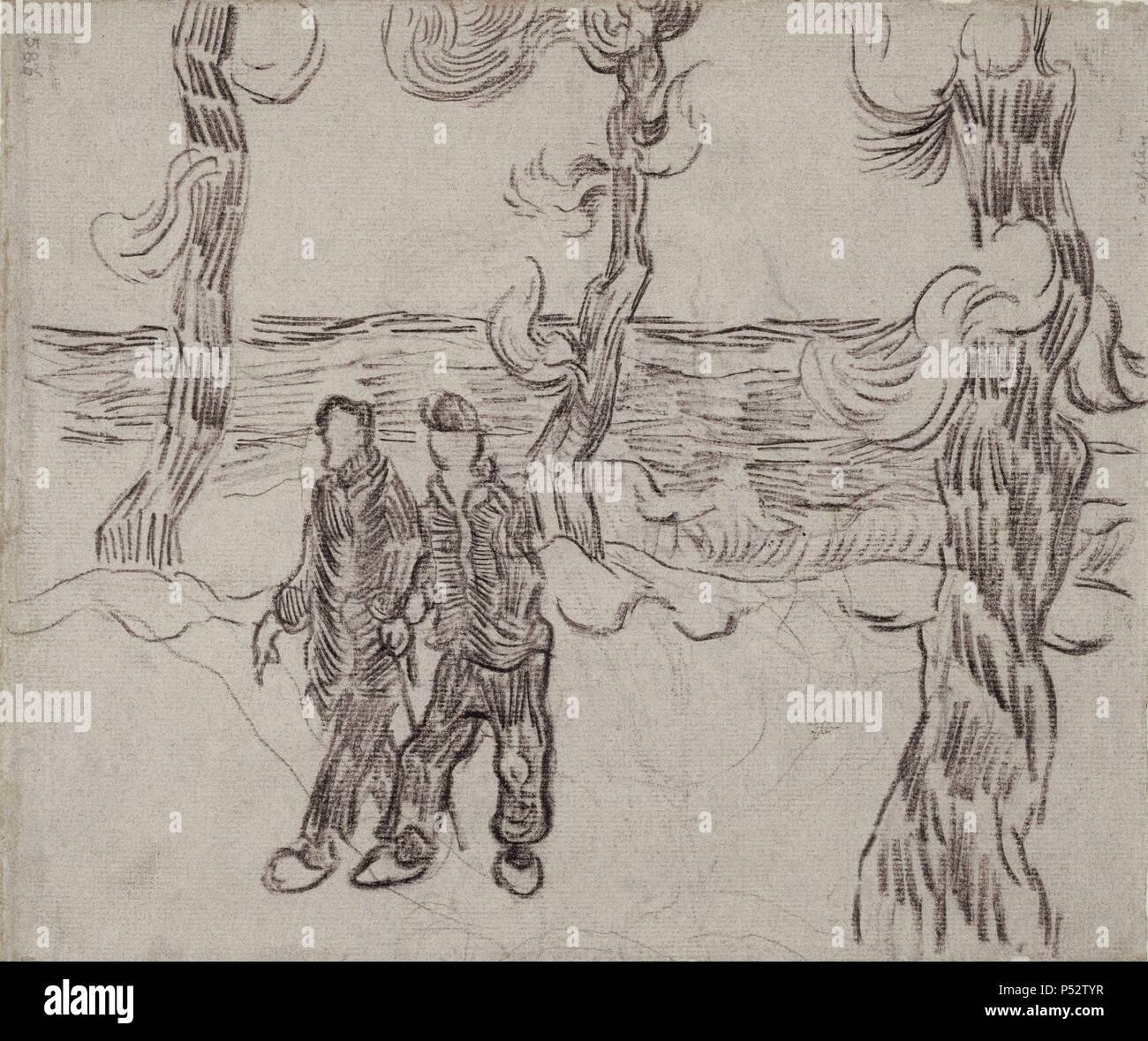 DOS HOMBRES EN UN CAMINO - SAINT-REMY - MARZO DE 1890 - DIBUJO EN PAPEL VERJURADO DE COLOR ROSADO - 24 cm x 28 cm. Author: Vincent van Gogh (1853-1890). Location: MUSEO VAN GOGH, AMSTERDAM, HOLANDA. - Stock Image
