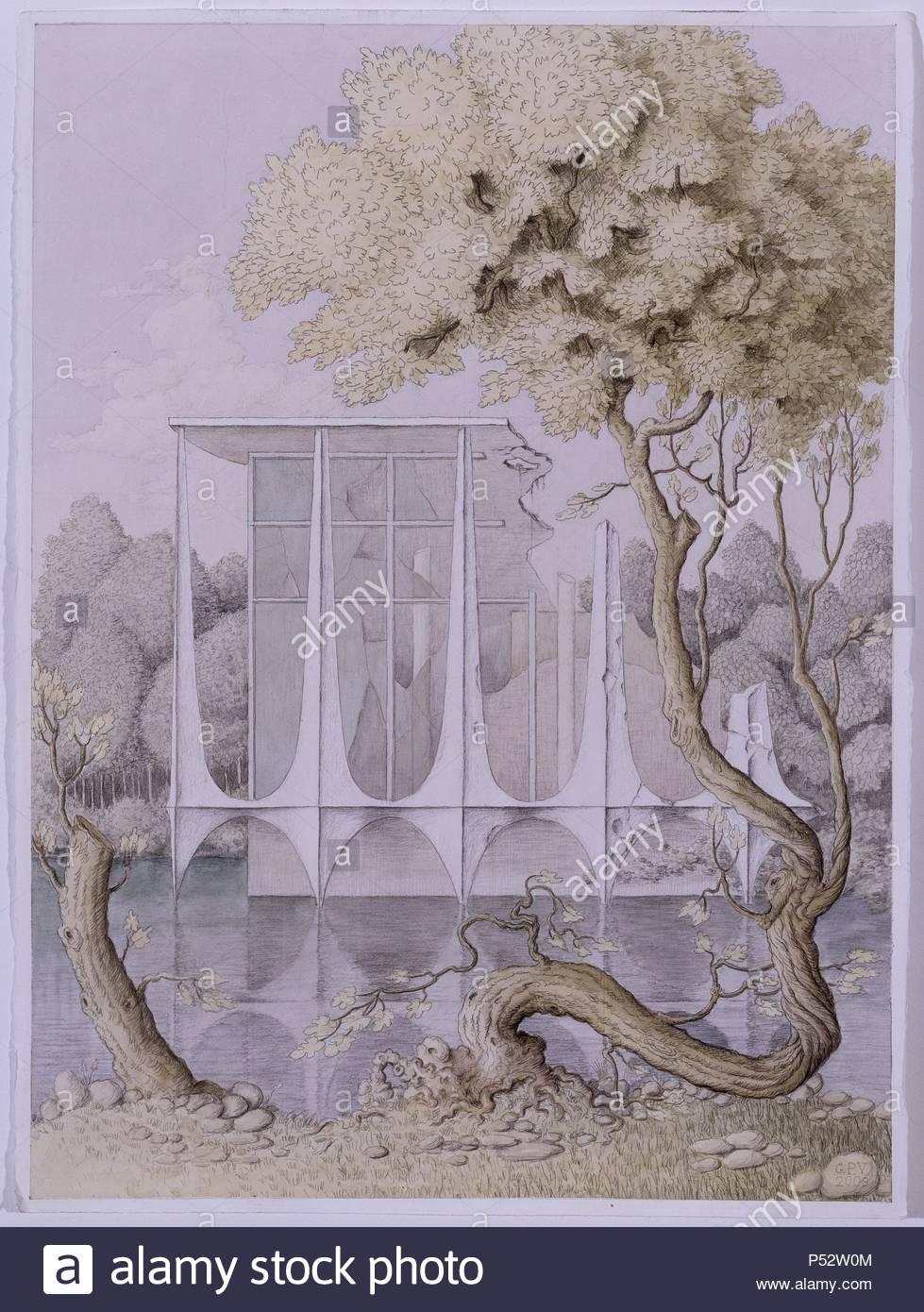 'Paisaje con ruina del palacio de la Alborada', 2009, Watercolor on paper, 56 x 76,5 cm. Author: Guillermo Pérez Villalta (b. 1948). Location: GALERIA SOLEDAD LORENZO, MADRID, SPAIN. - Stock Image