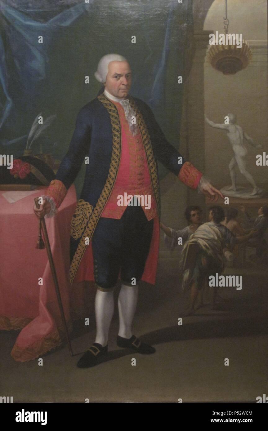 MATIAS DE GALVEZ (1717-1784) MILITAR Y POLITICO ESPAÑOL - SIGLO XVIII - FUNDO EN MEXICO LA REAL ACADEMIA DE BELLAS ARTES DE SAN CARLOS. Author: ANONIMO SIGLO XVIII. Location: MUSEO NACIONAL DEL VIRREINATO, TEPOTZOTLAN, CIUDAD DE MEXICO. - Stock Image