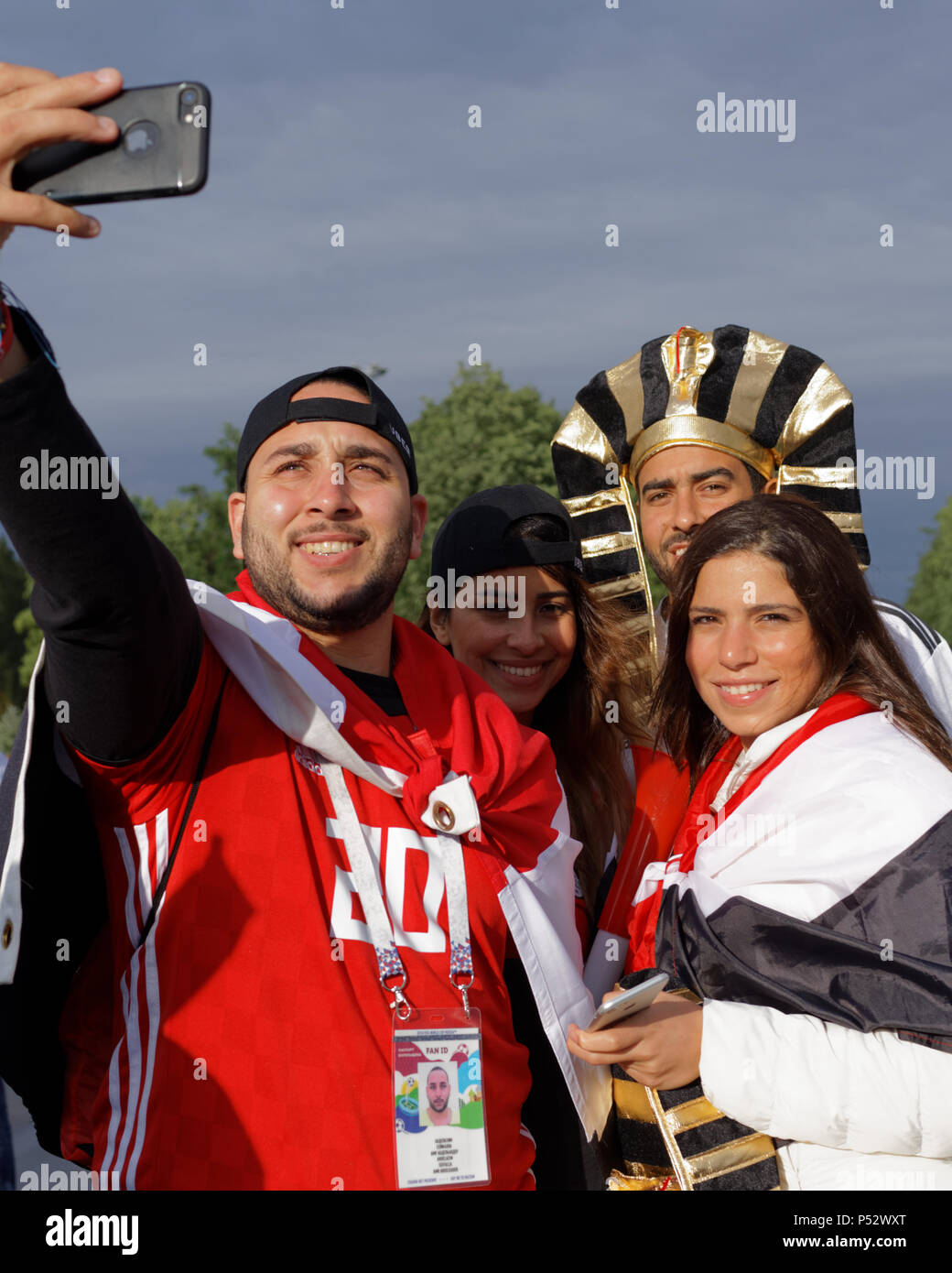 St. Petersburg, Russia - June 19, 2018: Egyptian football fans make photo at Saint Petersburg Stadium before the FIFA World Cup 2018 match Russia vs E - Stock Image