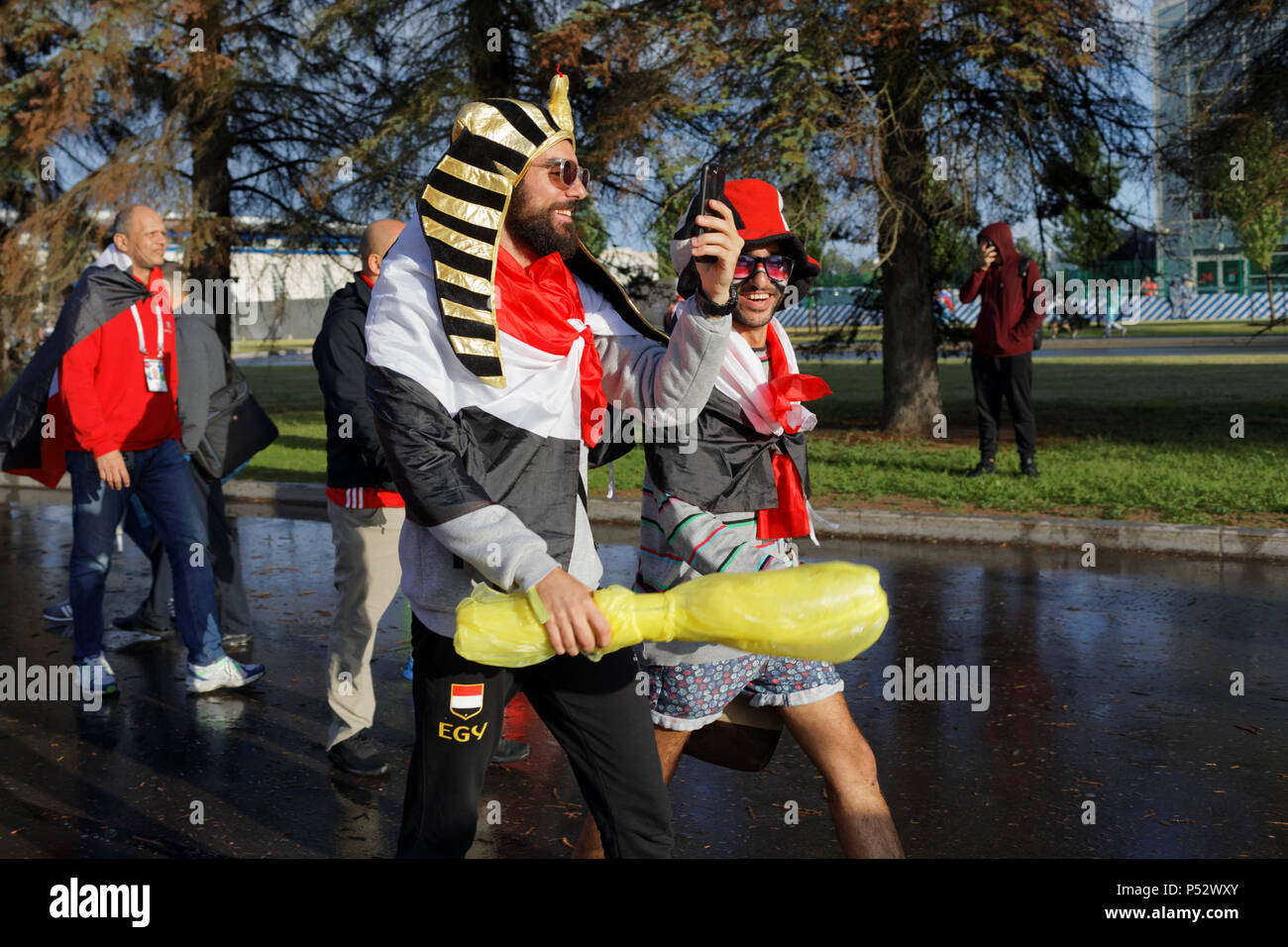 St. Petersburg, Russia - June 19, 2018: Egyptian football fans make selfie at Saint Petersburg Stadium before the FIFA World Cup 2018 match Russia vs  - Stock Image