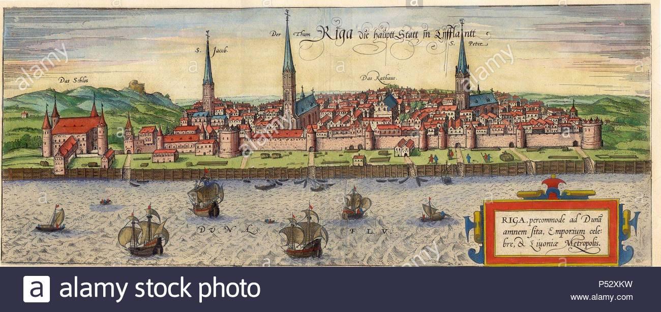 CIVITATES ORBIS TERRARUM - RIGA (LETONIA) - GRABADO - 1581. Author: BRAUN GEORG 1541-1622 / HOGENBERG FRANS. Location: PRIVATE COLLECTION. - Stock Image