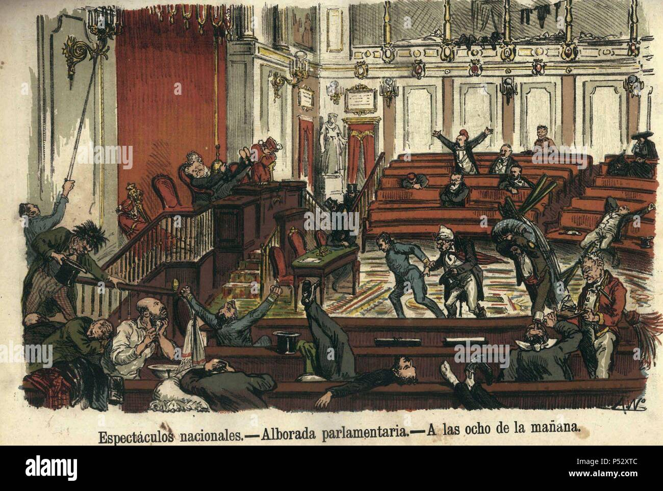 ESPECTACULOS NACIONALES - ALBORADA PARLAMENTARIA - A LAS 8 DE LA MAÑANA - SATIRA - REVISTA LA FLACA - 28 DE MAYO DE 1871. Location: BIBLIOTECA NACIONAL-COLECCION, MADRID, SPAIN. - Stock Image