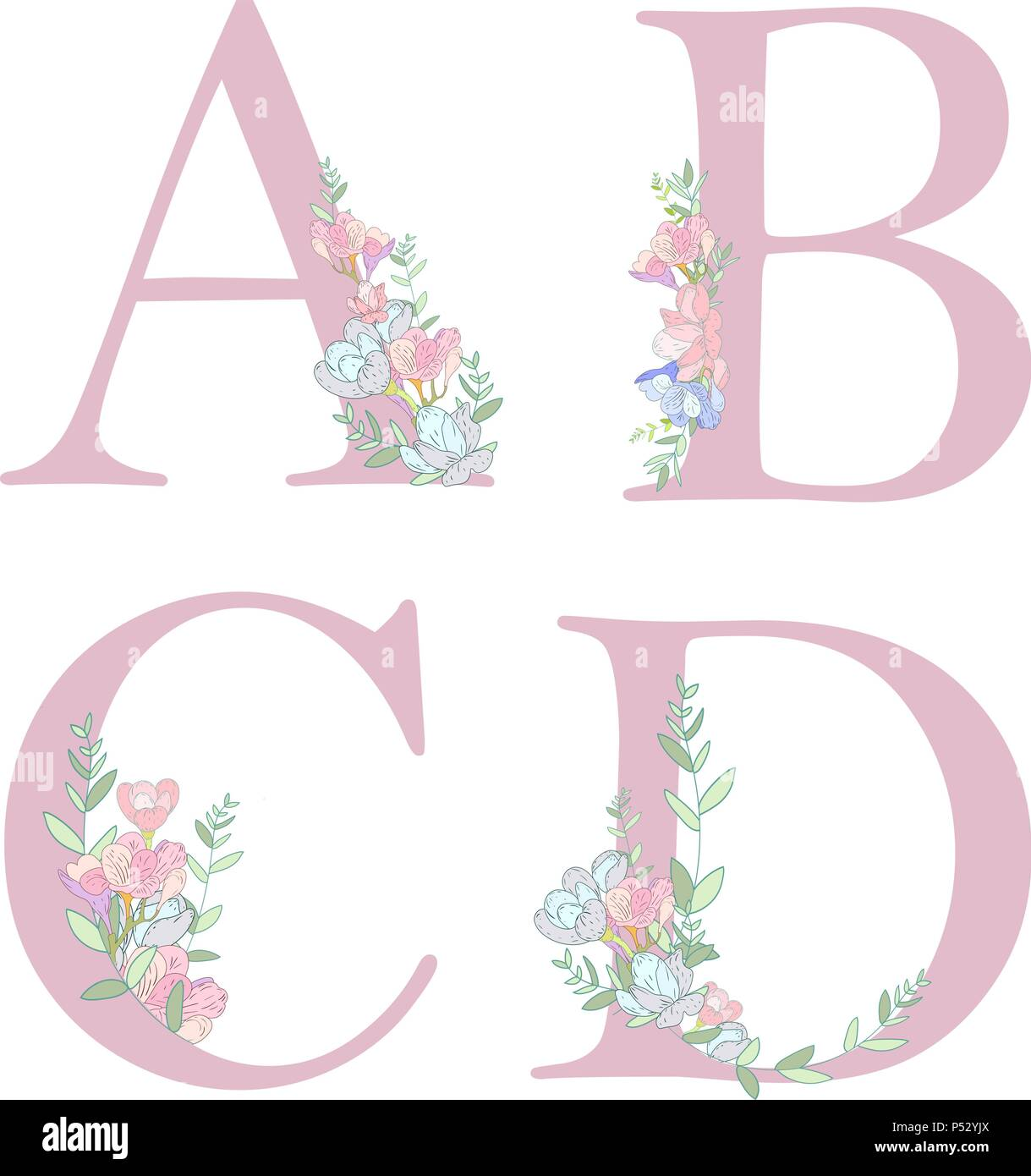 Diagram Flower Alphabet Letter C Stock Illustration