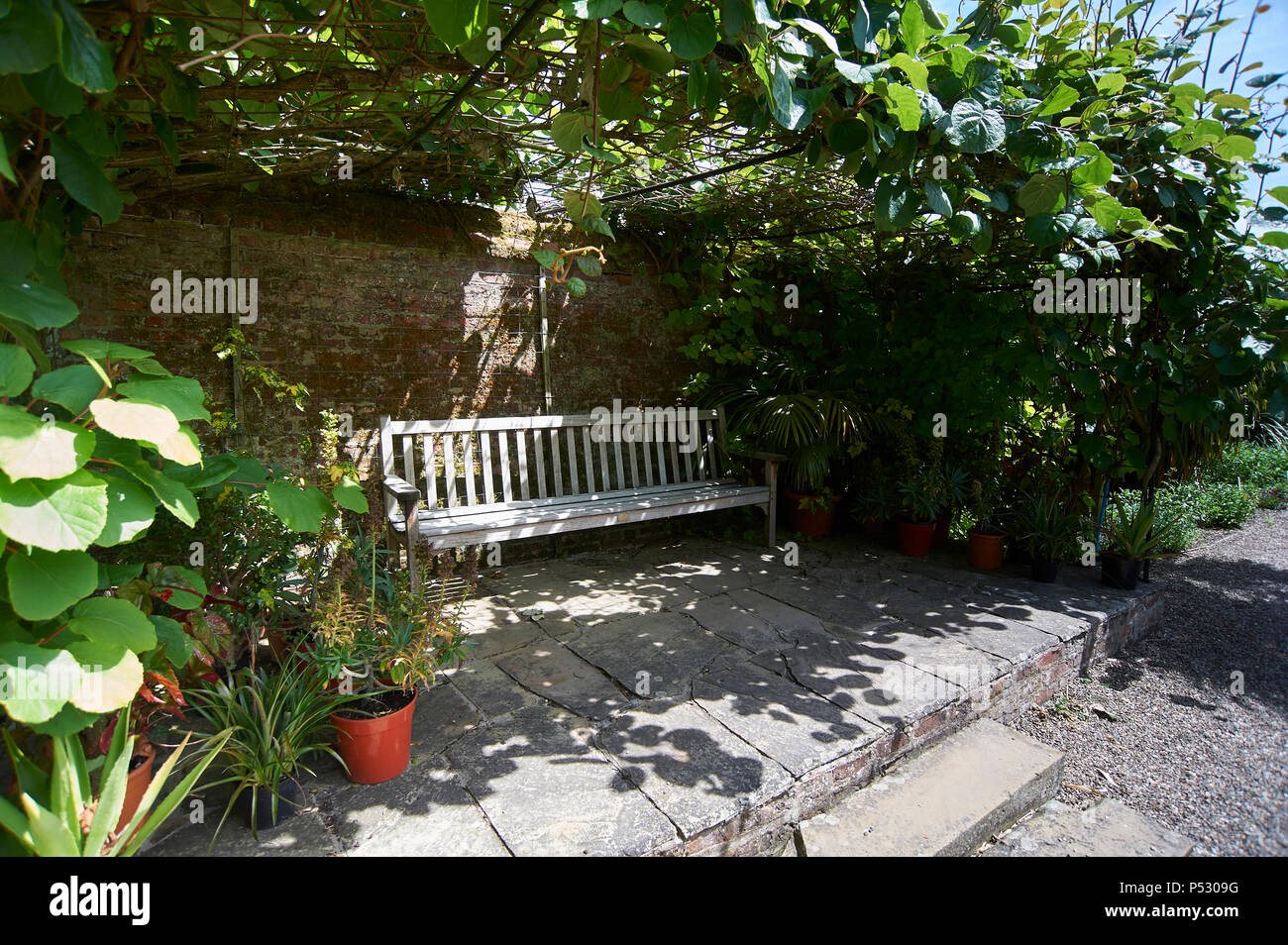 Heavy Duty Counter Stools, Garden Bench In The Shade Against An Old Garden Wall Sunner Uk Gb Stock Photo Alamy
