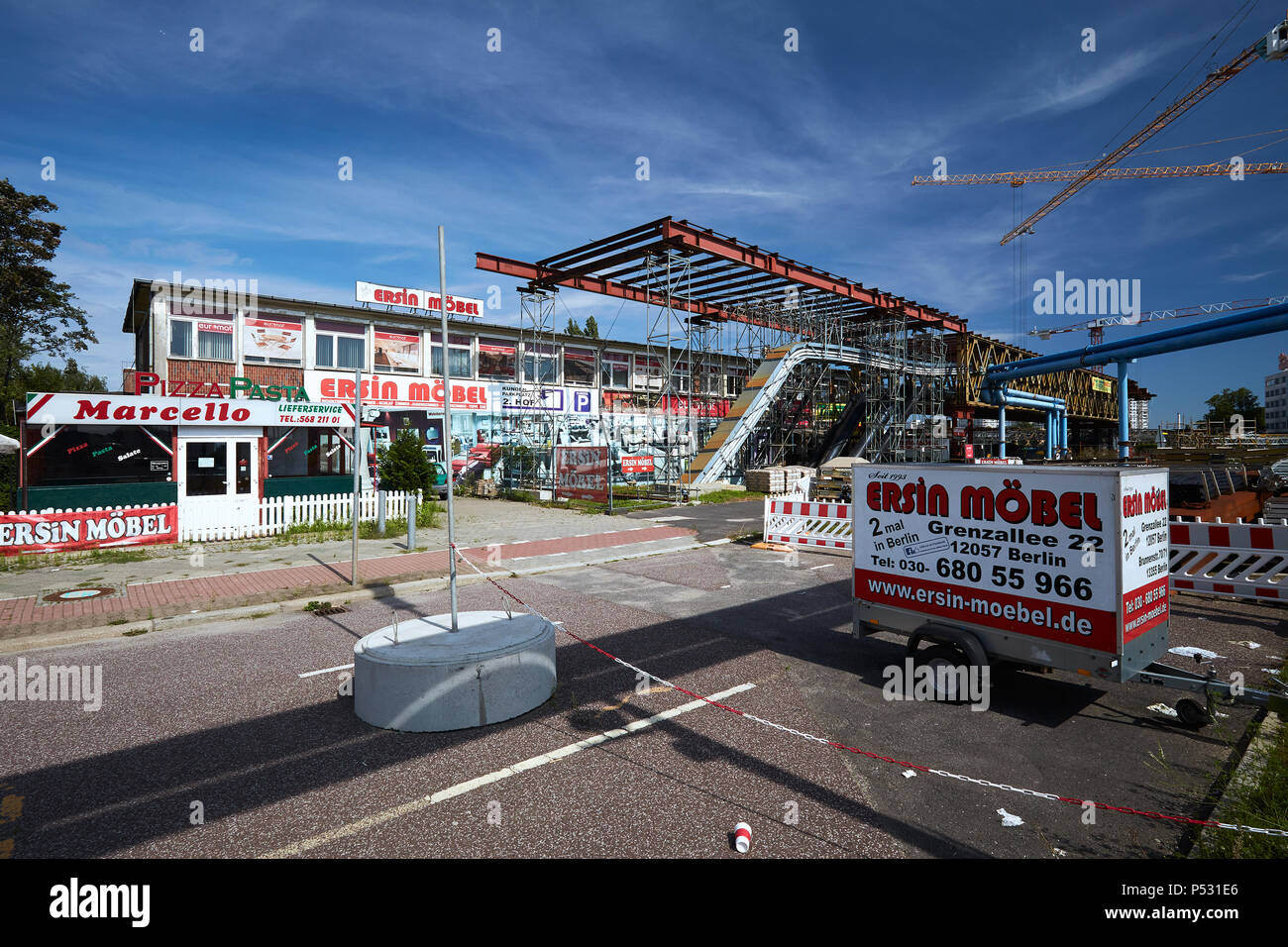 Berlin, Germany - Empty commercial building in Grenzalle at the construction site of the A100 motorway in Berlin-Neukoelln. Stock Photo