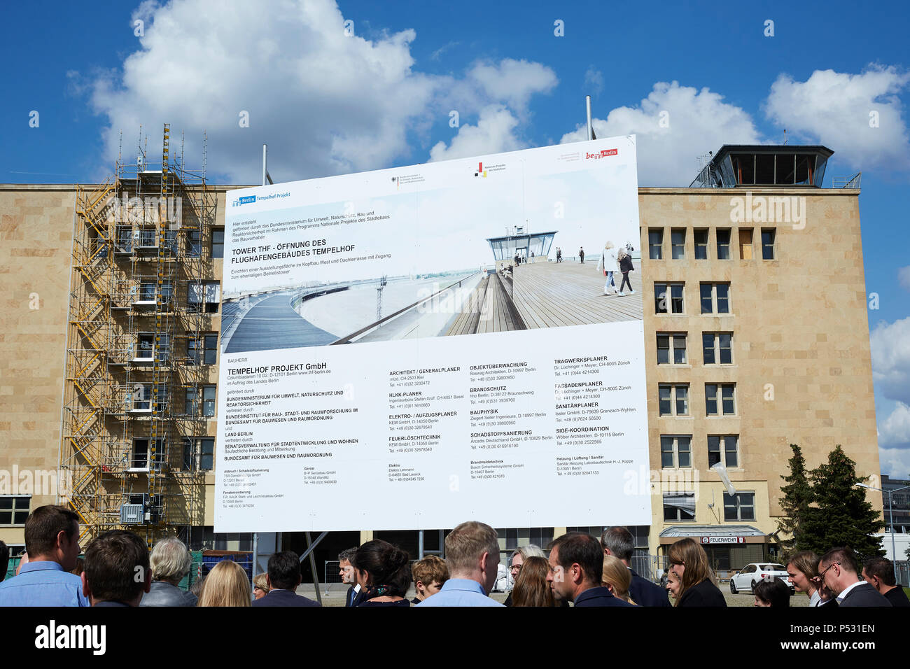 Berlin, Germany - Presentation of the information panel on the construction project Opening of Tempelhof Airport - Tower THF - Stock Image
