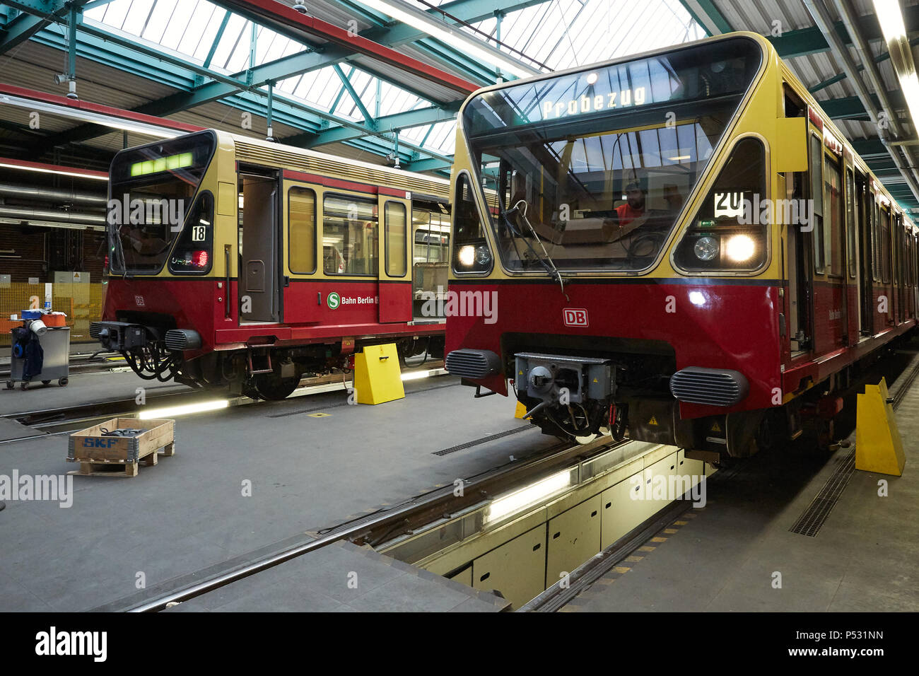 Berlin, Germany - trains of the S-Bahn Berlin from the 480 series are in the workshop for maintenance - Stock Image