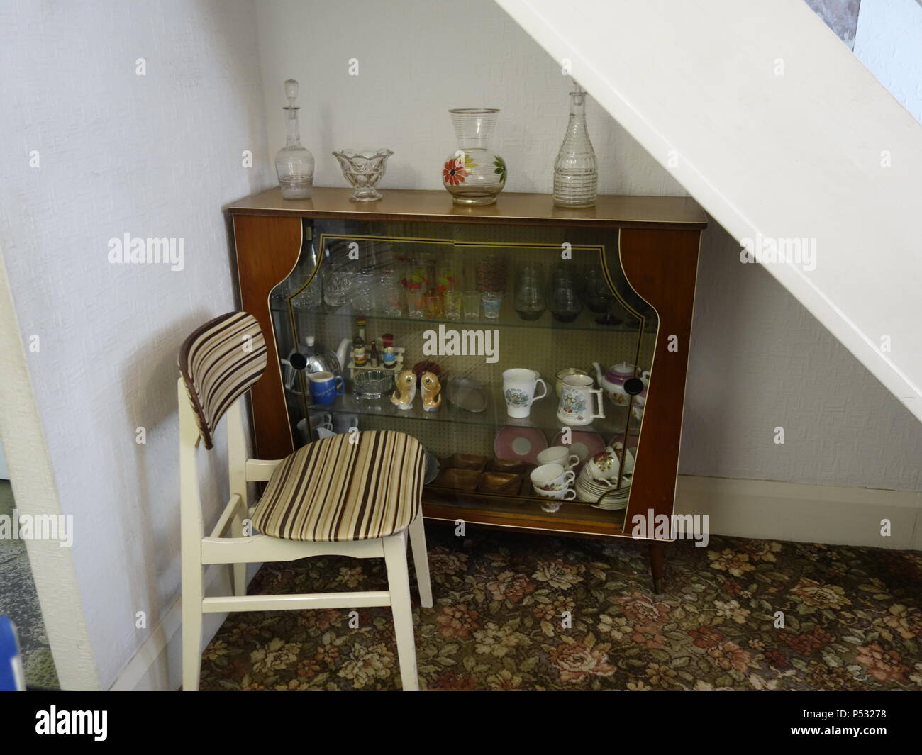 Vintage room set up as a 1969 time capsule Stock Photo