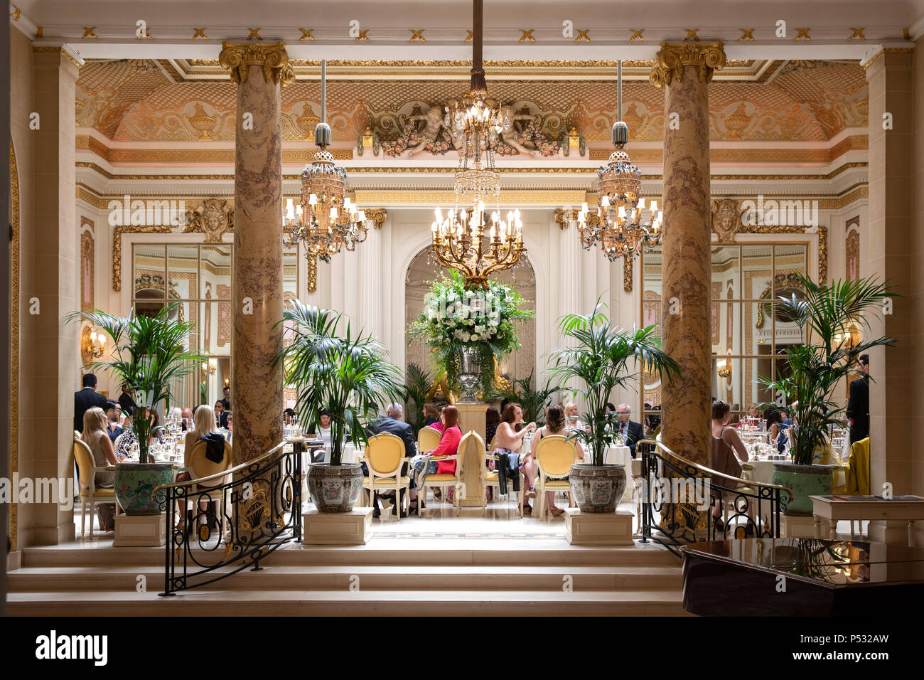 The Ritz Hotel, London. The Palm Court, which serves 'Tea at the Ritz'. Afternoon tea. - Stock Image