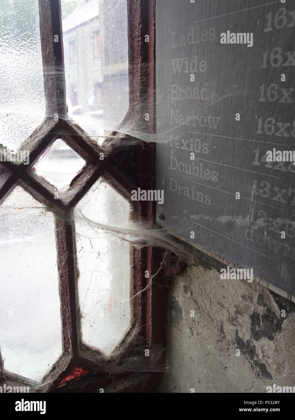 cobwebs in an old window - Stock Image