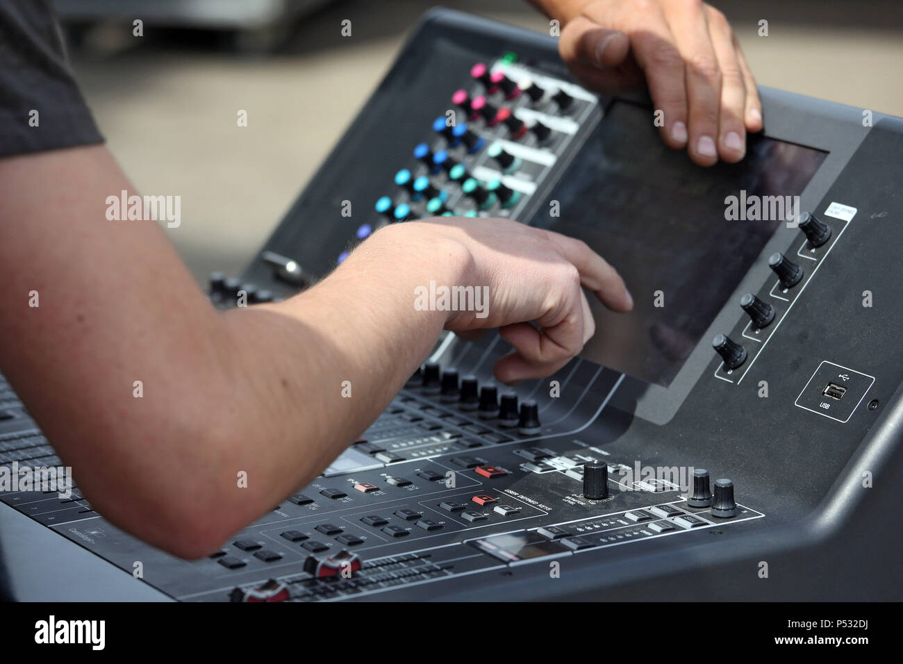 Hannover, Lower Saxony, Germany, sound setting at a mixer - Stock Image