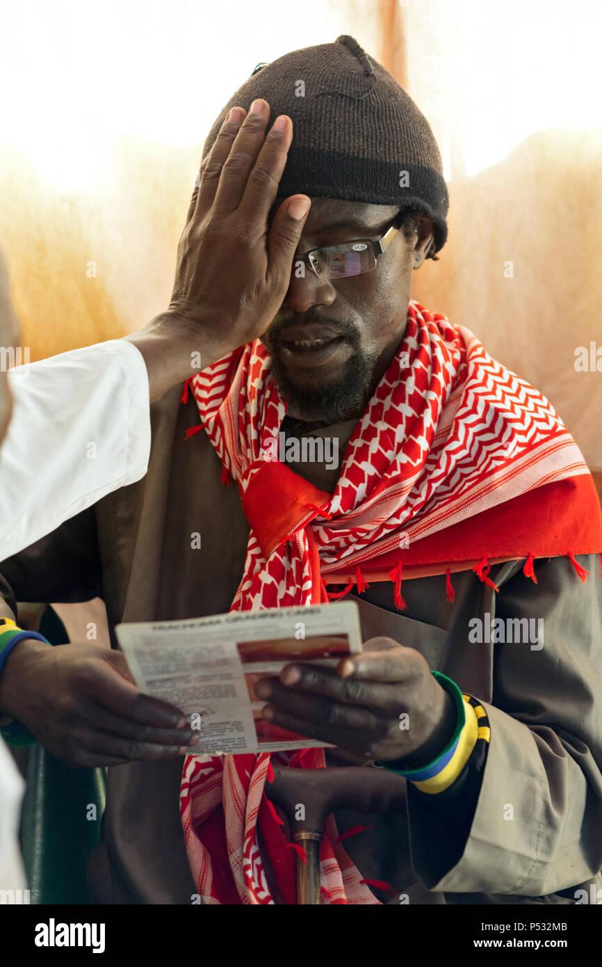 Kakuma, Kenya - basic ophthalmology and care for refugees in the Kakuma refugee camp. - Stock Image