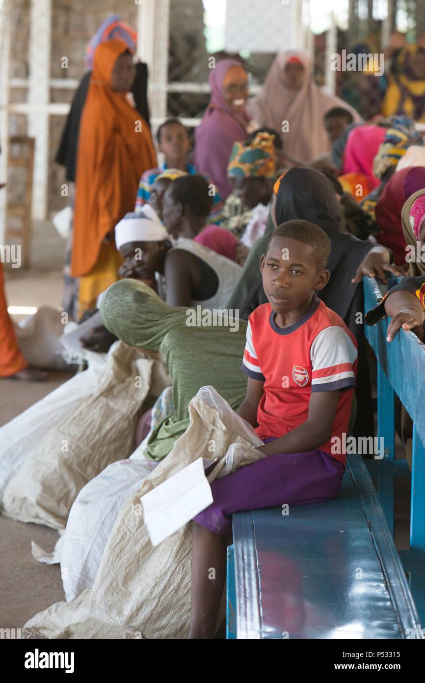 Kakuma, Kenya - Food issue of the humanitarian aid organization World Food Program in the Kakuma refugee camp. - Stock Image