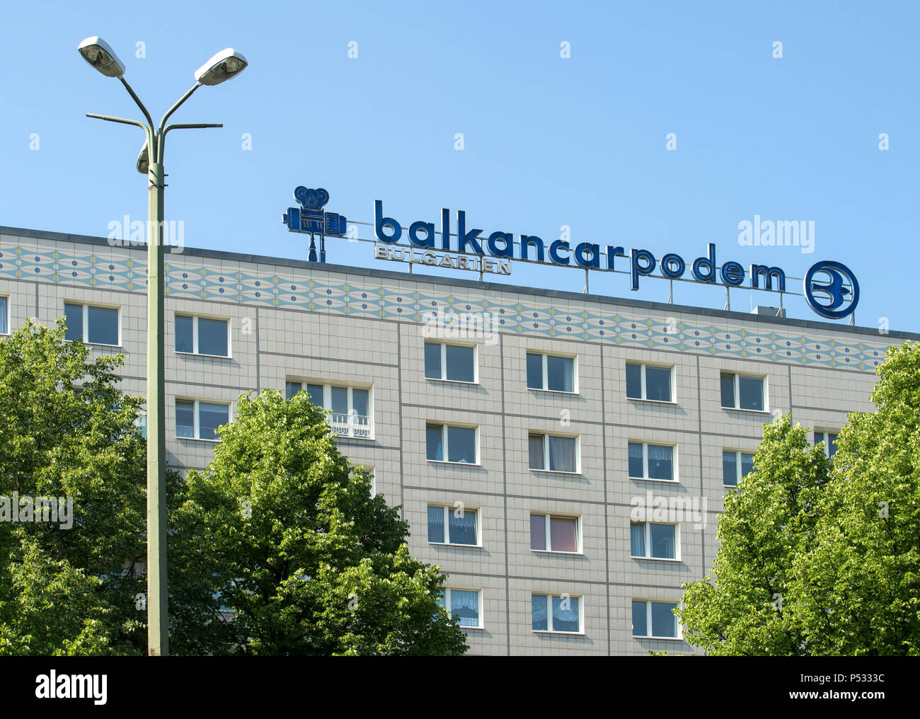 Historical advertising from GDR times for BALKANCARPODEM BULGARIA on a panel in Karl-Marx-Allee - Stock Image