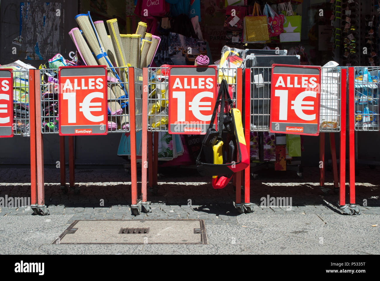 Advertising for lowered products in retail - all for one euro - Stock Image