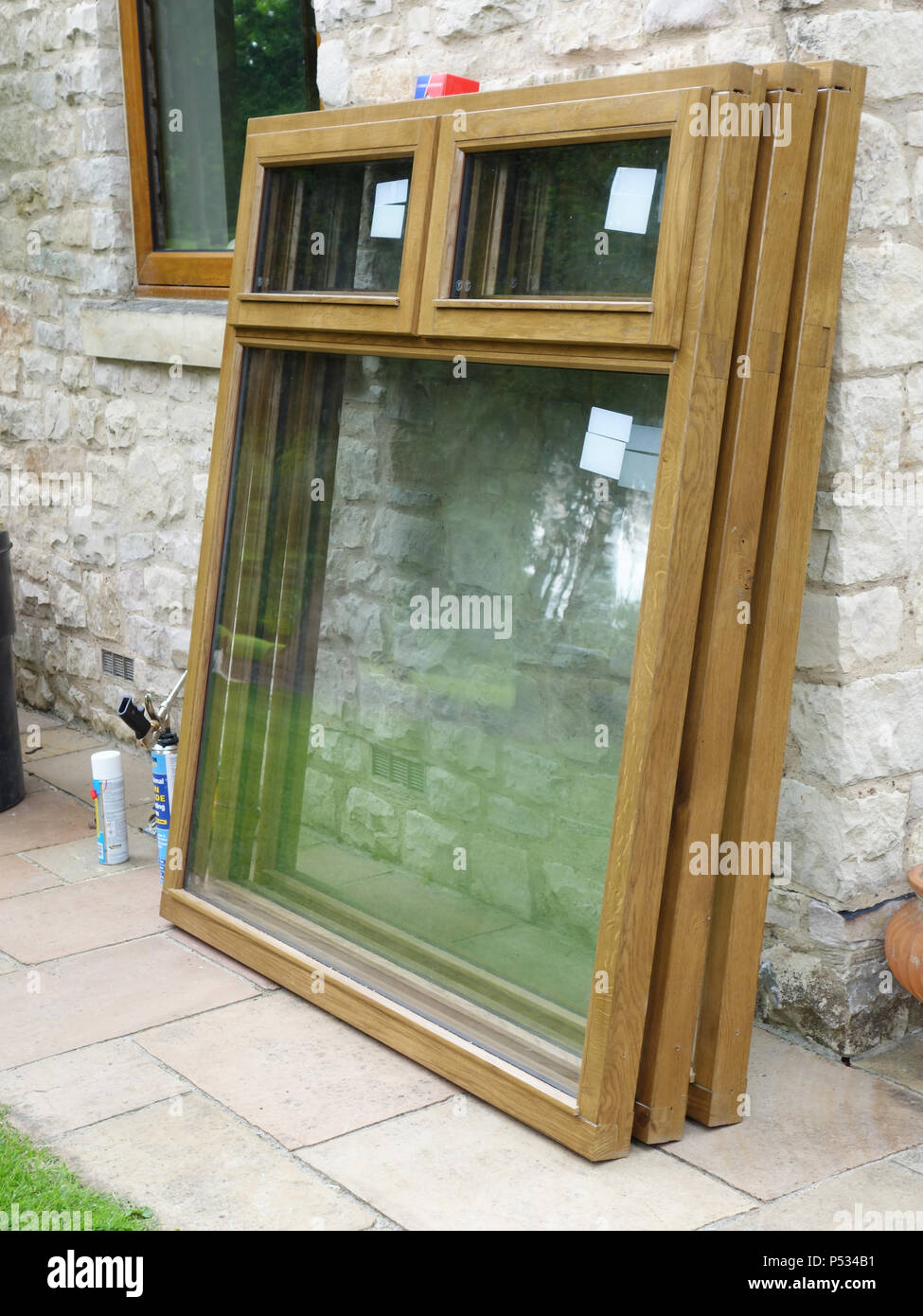 Three New Double Glazed Solid Oak Window Frames To Be Installed And