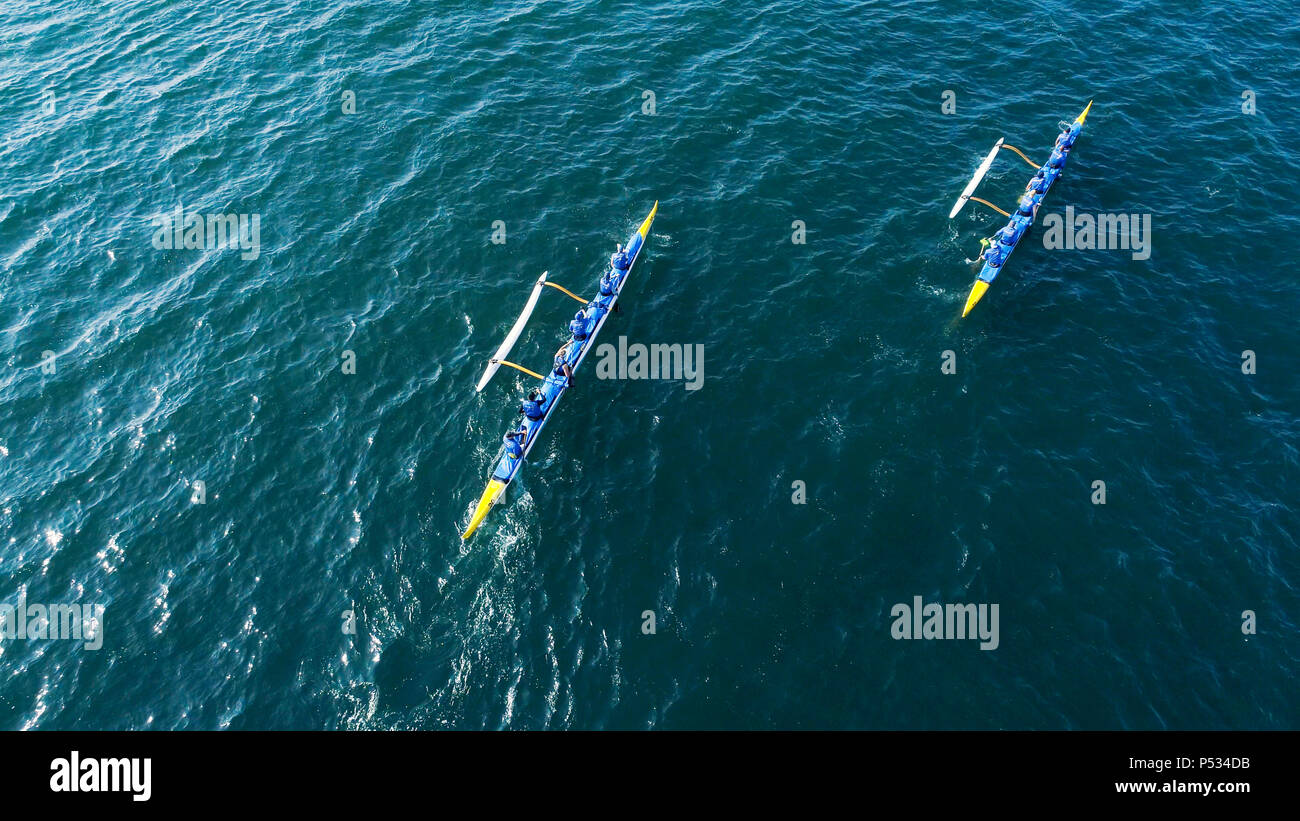 Outrigger Canoe teams competing in the Santa Barbara Rig Run 12 mile Championship race Stock Photo