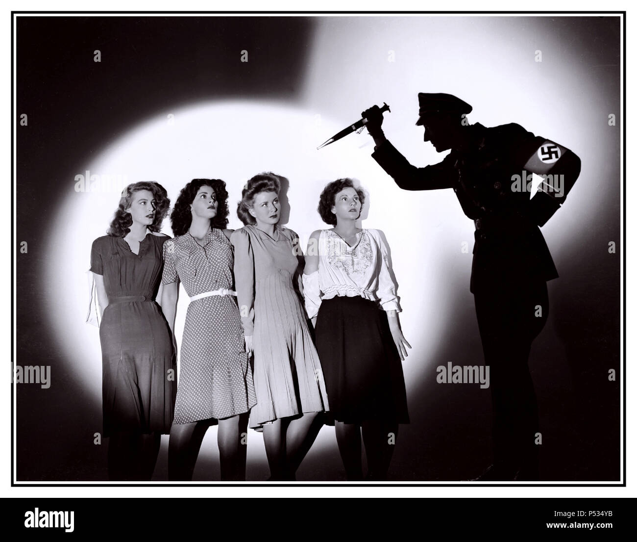 B&W Movie Still image from '', with Alan Curtis, Patricia Morison pictured, John Carradine, Ava Gardner, Frances Rafferty, Natalie Draper, Leatrice Joy Gilbert, 1943 - Stock Image