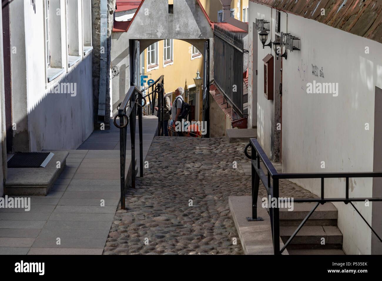Street view in Tallin, Estonia - Stock Image