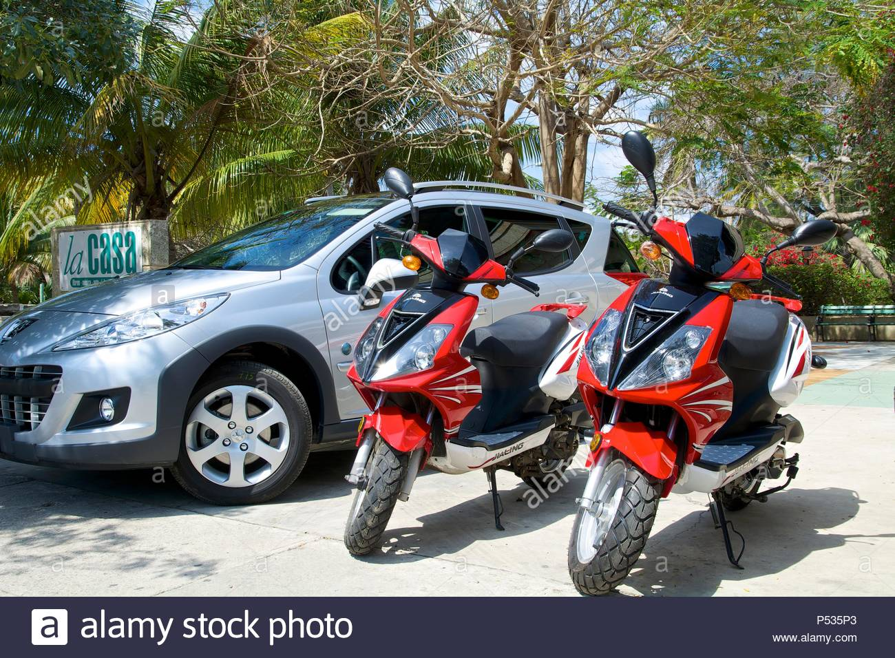 Moped And Car Rental Varadero Matanzas Province Cuba Stock Photo