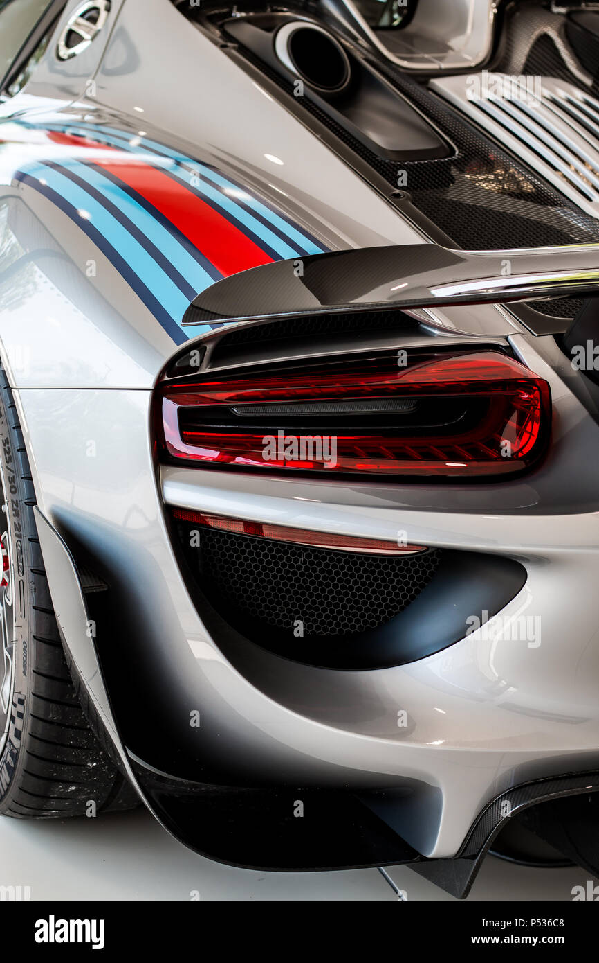 The back of a modern Porsche 918 Hypercar Stock Photo