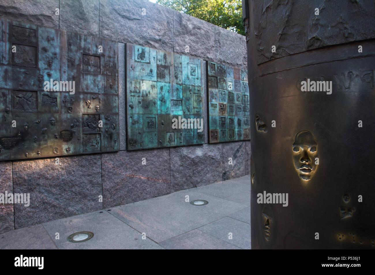 Social Programs bronze releif sculpture in the Franklin Delano Roosevelt Memorial, Washington, DC - Stock Image