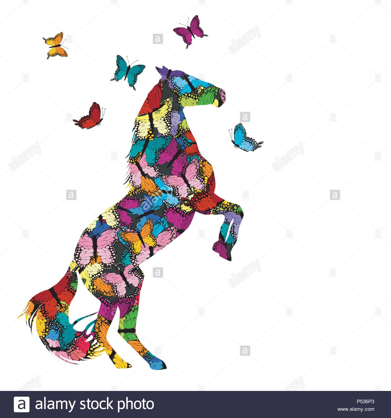 Colorful illustration with patterned rear horse and butterflies - Stock Vector