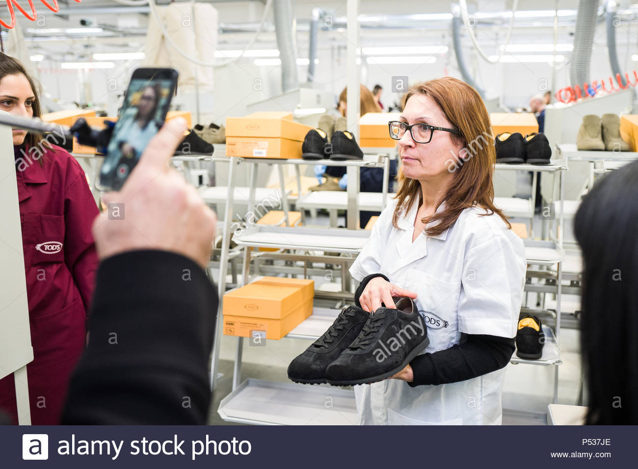 Tod's opening to Arquata del Tronto (AP) - 20th December 2017 | a pair of shoes just produced ready for packaging. - Stock Image