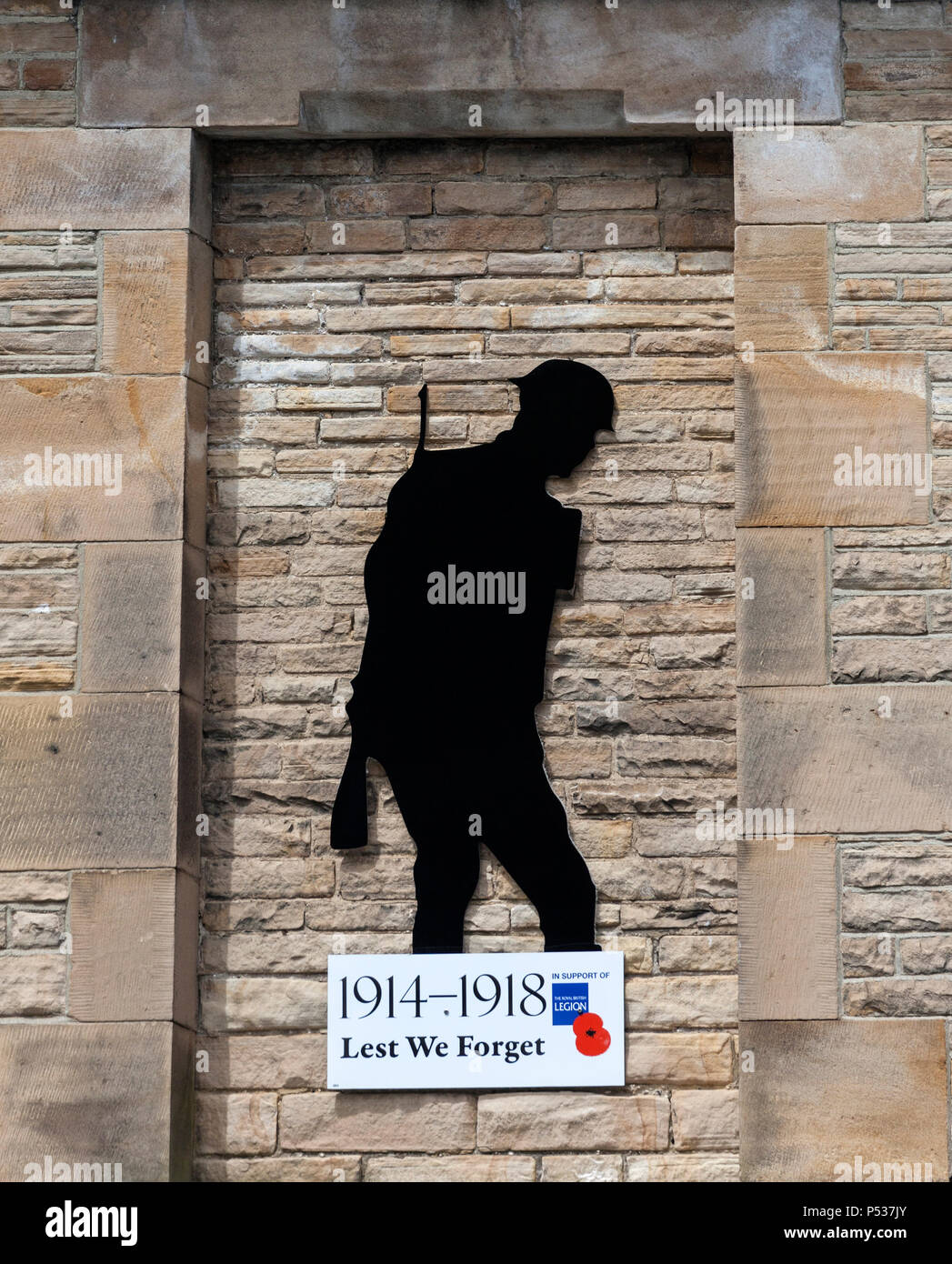 dad851592b8be Silhouette of a WW1 Soldier with a Royal British Legion Lest we Forget  Sign, Barnard