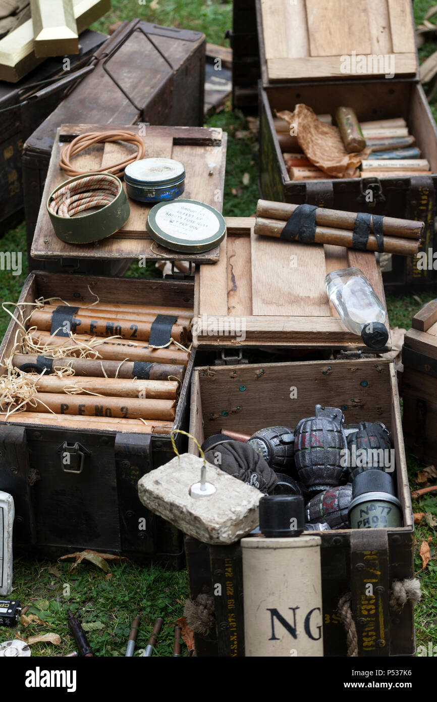 Boxes Containing 2nd World War, Fuses, Plastic Explosives, Gelignite, and Hand Grenades, UK - Stock Image