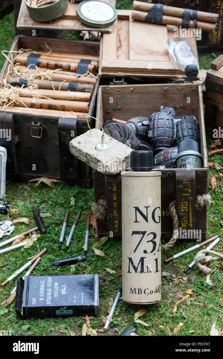 Boxes Containing 2nd World War, Fuses, Plastic Explosives and Hand Grenades, UK - Stock Image