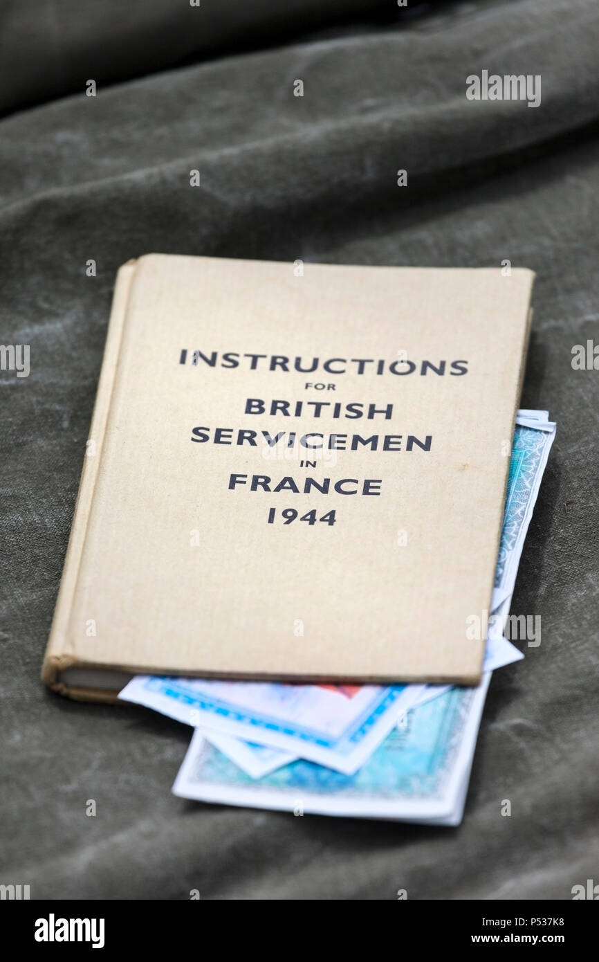 Instruction Book for British Servicemen in France 1944. - Stock Image