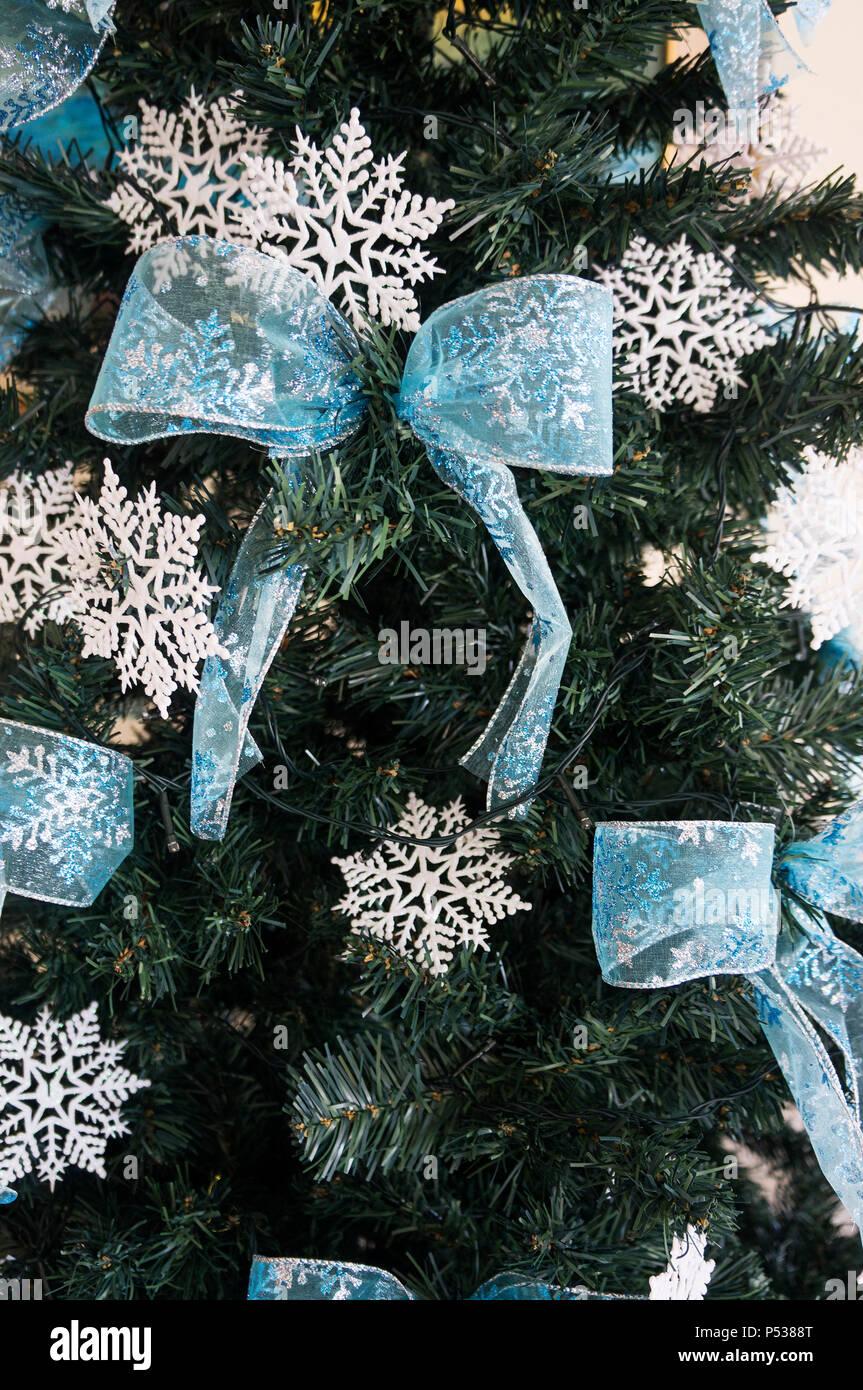 Christmas Tree Detail Ornament Tie Green Fir Snowflake Seasonal Stock Photo Alamy