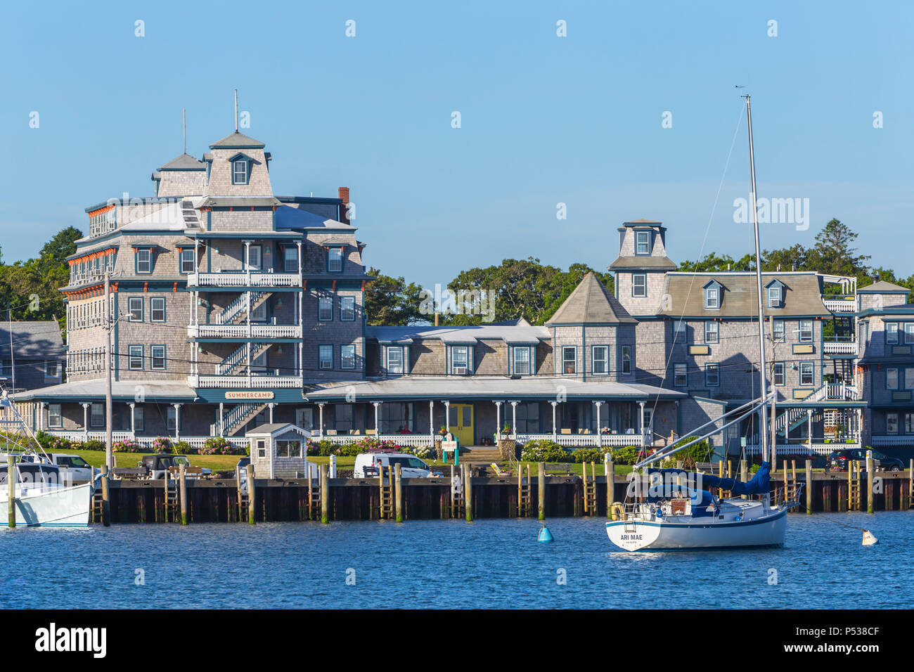 The Summercamp hotel (formerly the Wesley hotel) overlooks the harbor in Oak Bluffs, Massachusetts on Martha's Vineyard. - Stock Image
