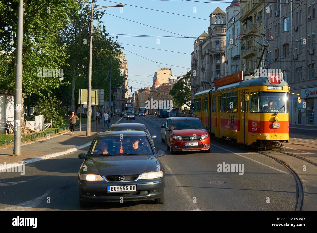 Belgrade, Serbia - May 03, 2018: Morning traffic on Karadordeva street. Stock Photo