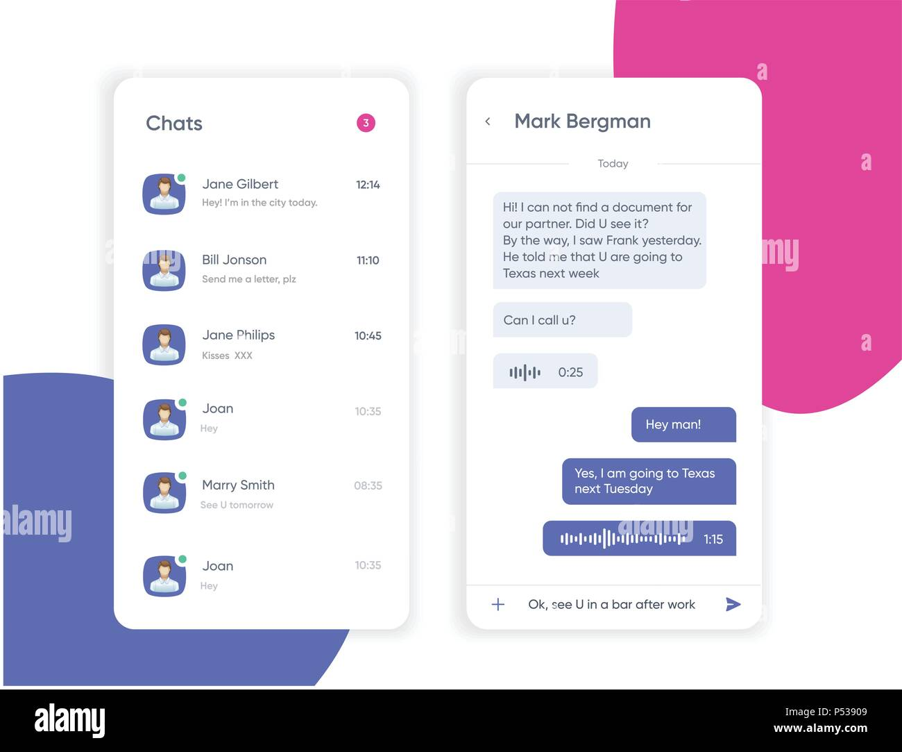 Vector phone chat interface. Sms messages. Speech bubbles. Short message service bubbles. Flat interface. UI UX Interface - Stock Image