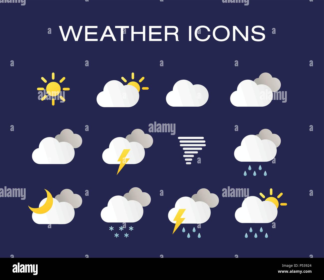 Complete set of modern realistic weather icons. Modern weather icons set. Flat vector symbols on dark background. - Stock Vector