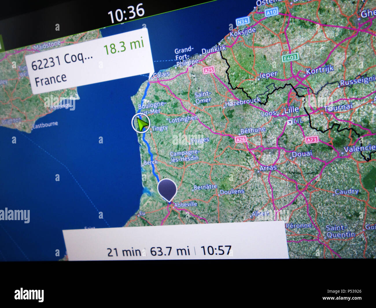 Rear seating individual TV Monitor and entertainment system with Sat Nav route showing live infomation for the passenger on route Le Mans to Calais - Stock Image