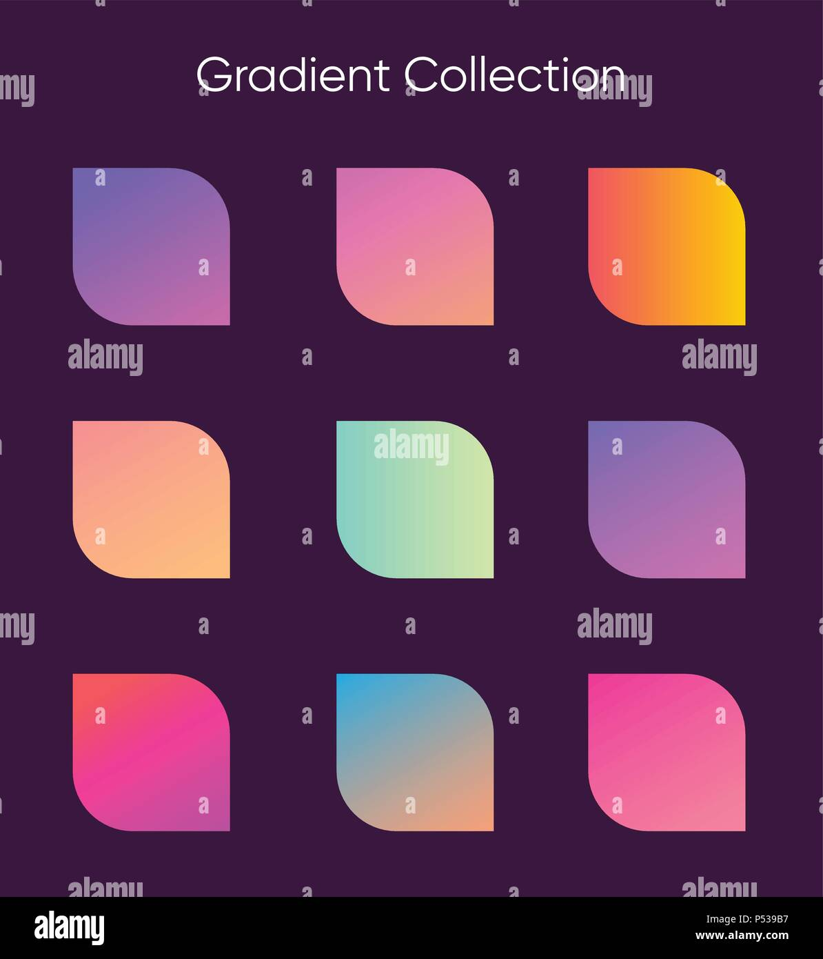 Gradient sample set. Colorful gradients for poster, banner, flyer and presentation. Trendy soft color. Template for screens and mobile app - Stock Image