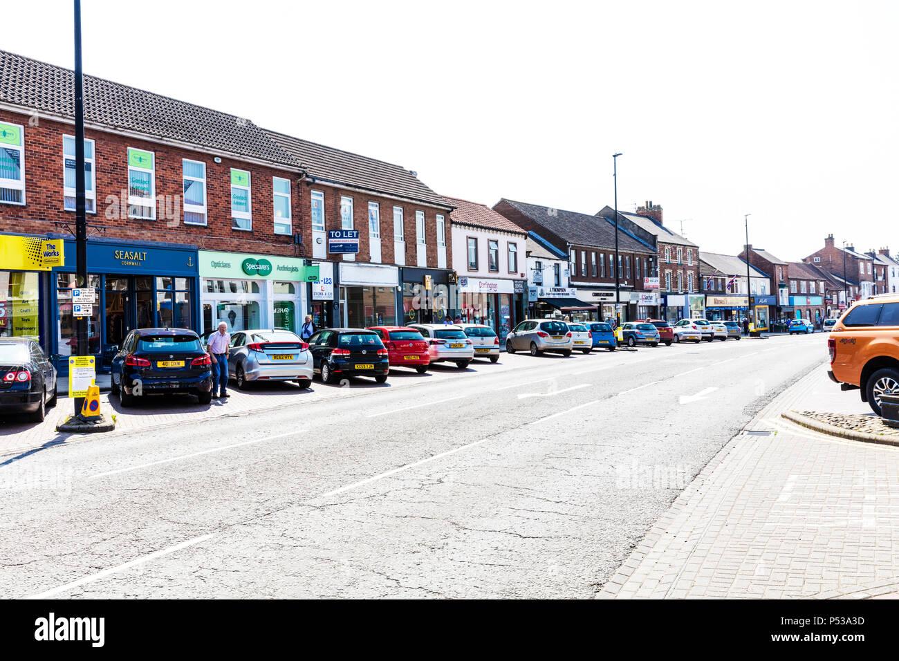 Northallerton town centre, Northallerton town centre Yorkshire UK, Northallerton high street Yorkshire, Northallerton Yorkshire town, UK high street, Stock Photo