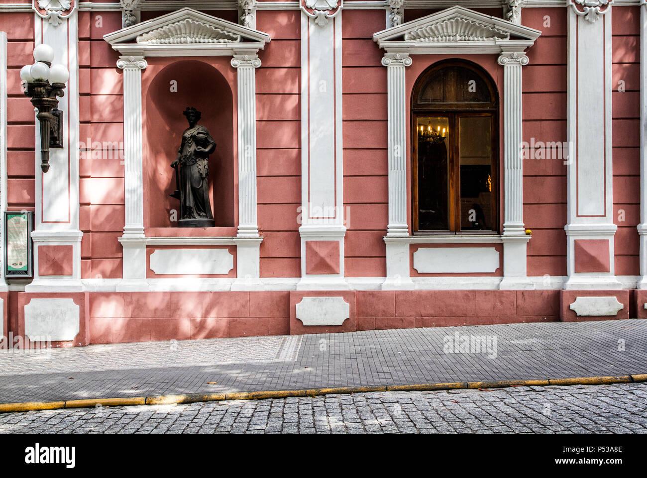 Detail of Cruz e Sousa Palace facade, house of Santa Catarina Historic Museum. Florianopolis, Santa Catarina, Brazil. - Stock Image