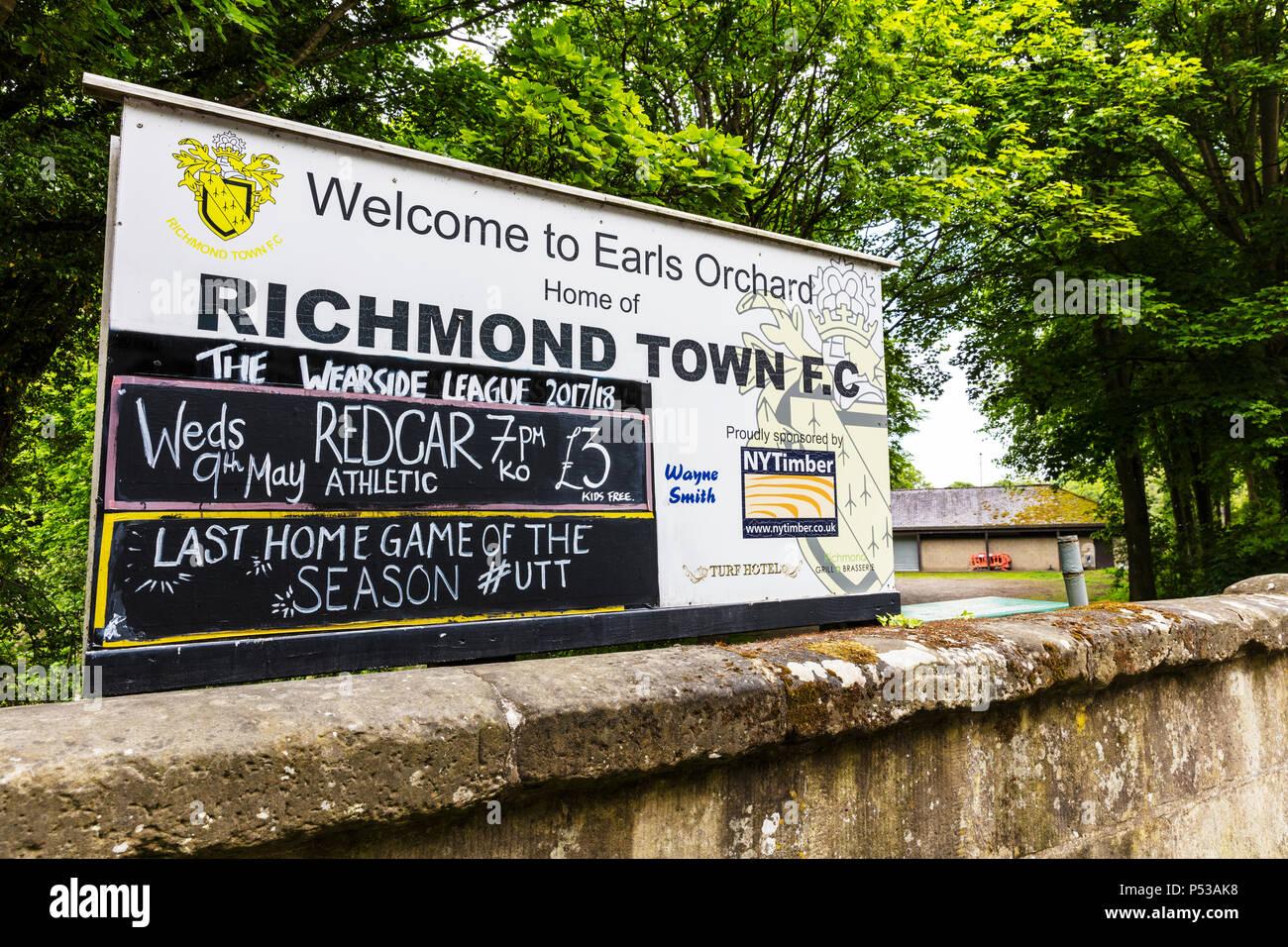 Richmond Town Football Club sign, Richmond Yorkshire UK, Richmond Town FC sign, football club, fooball clubs UK, UK football clubs, UK football club, Stock Photo